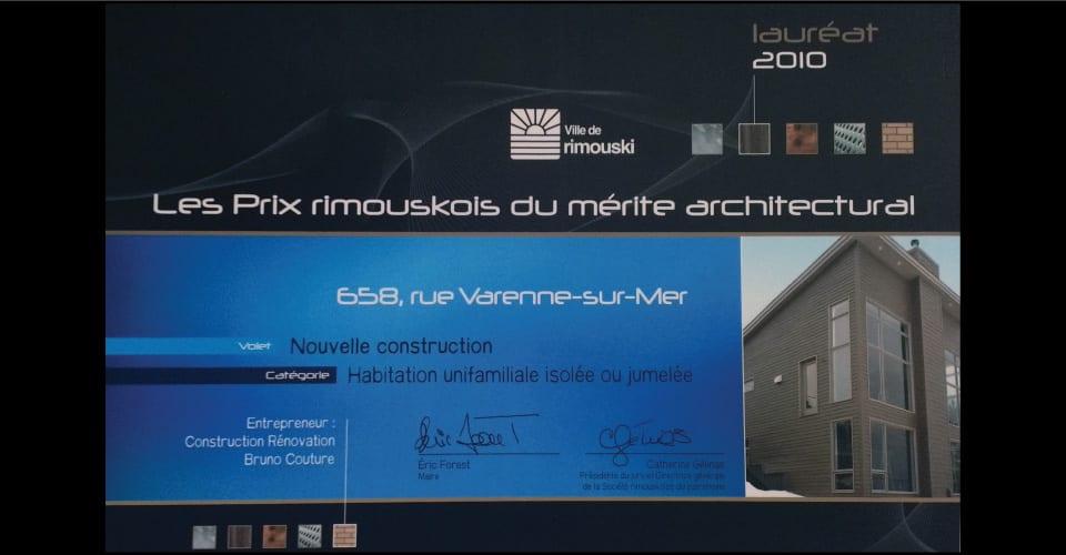 Lauréat 2010 de la ville de Rimouski: Habitation unifamiliale isolée ou jumelée