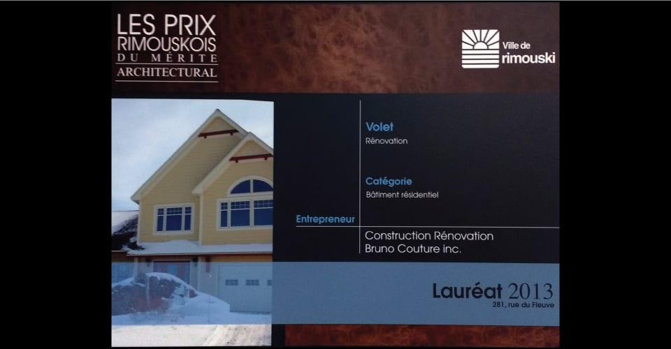 Lauréat 2013 de la ville de Rimouski: Bâtiment résidentiel